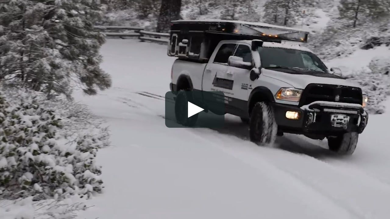 Winter Storm Camping in a Four Wheel Pop-up Truck Camper ...