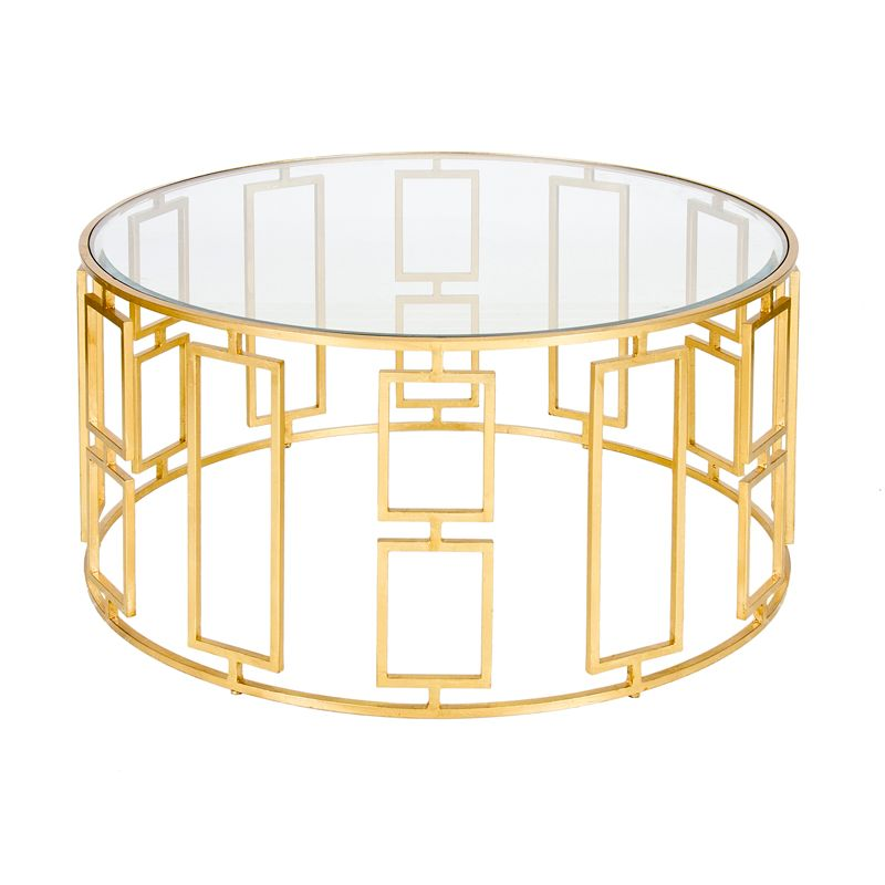 "36"" diameter gold leaf coffee table | worlds away | pinterest"