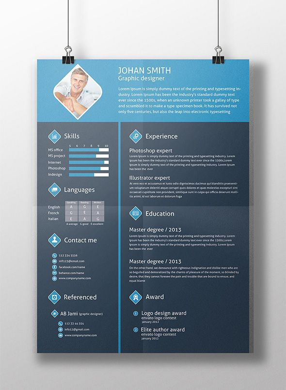 free 3 color flat resume template cover letter for graphic designers