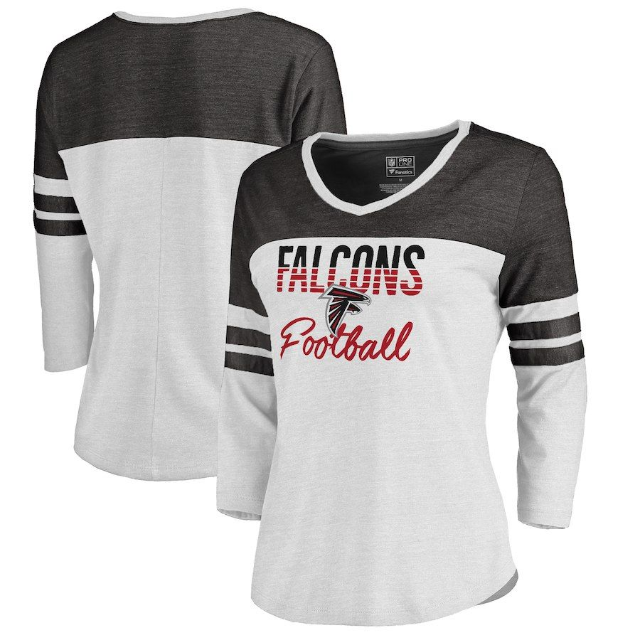 4e75716d7 NFL Pro Line by Fanatics Branded Atlanta Falcons Women s White Plus Size  Color Block 3 4 Sleeve Tri-Blend T-Shirt