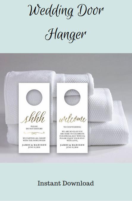 Wedding Door Hanger Template   Do Not Disturb Printable   Wedding Printable  Gold, Welcome #