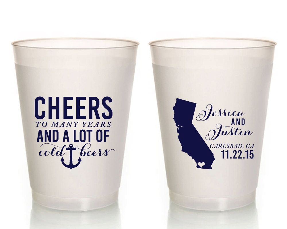 New to SipHipHooray on Etsy: California Wedding Favors Nautical Wedding Cups Cheers To Many Years and Cold Beers Wedding Favors Custom Cups Nautical Favors 1264 (119.00 USD)