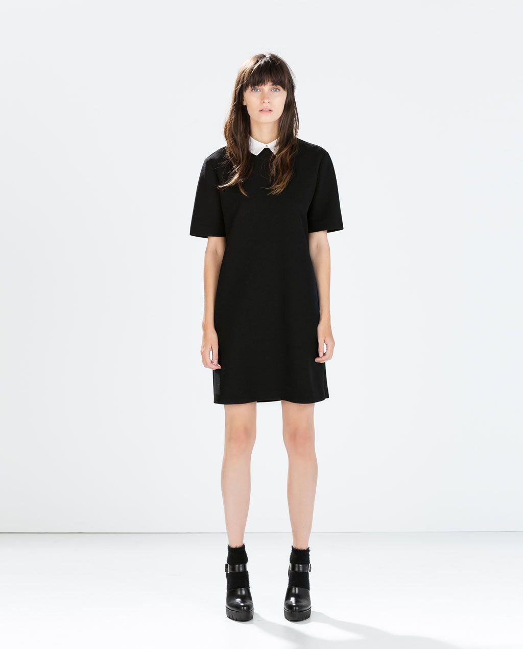 Robe noir col claudine zara