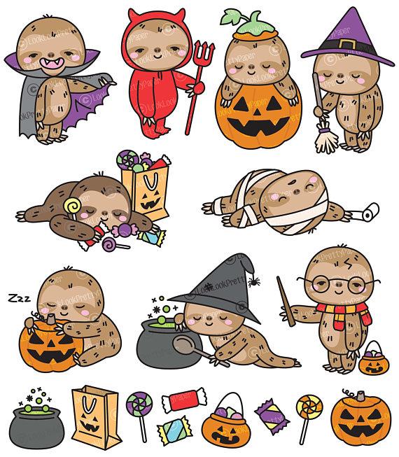 Premium Vector Clipart Kawaii Halloween Sloths Cute Etsy Cute Halloween Drawings Kawaii Halloween Sloth