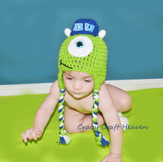 Monsters University Inspired Hat Monster Inc Inspired Baby Monster Hat Mike Wazowski Inspired Monster Hat Hats Family Costumes