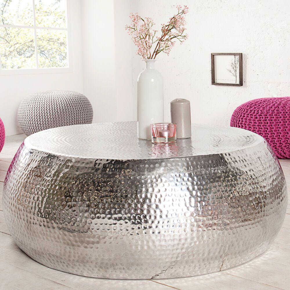 Design Couchtisch Orient 80cm Metall Silber Tisch Hammerschlag