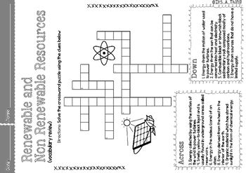 Crossword Puzzle About Renewable And Non Renewable Resources Nonrenewable Resources Renewable Resources Resources