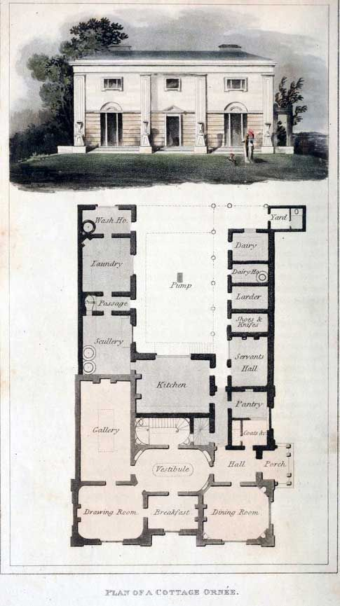 Houseplan From Ackermann S Regency Architecture Vintage House Plans Little House Plans