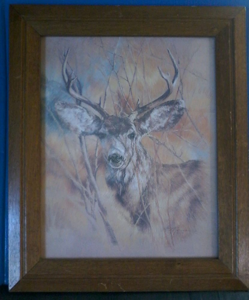 Silent Buck signed K Maroon 1978 Vintage Art Deer Picture Frame and ...