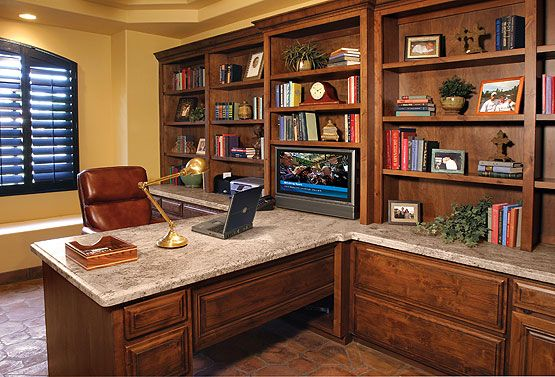 Built In Office With Granite Top Stone Creek Furniture Built In Furniture Office Built Ins Custom Built Homes