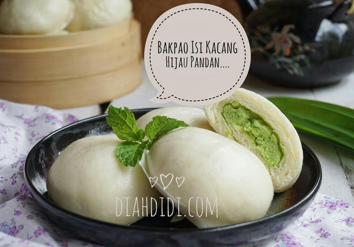 Diah Didi S Kitchen Bakpao Isi Kumbu Kacang Hijau Pandan Makanan Ringan Manis Kacang Resep Makanan