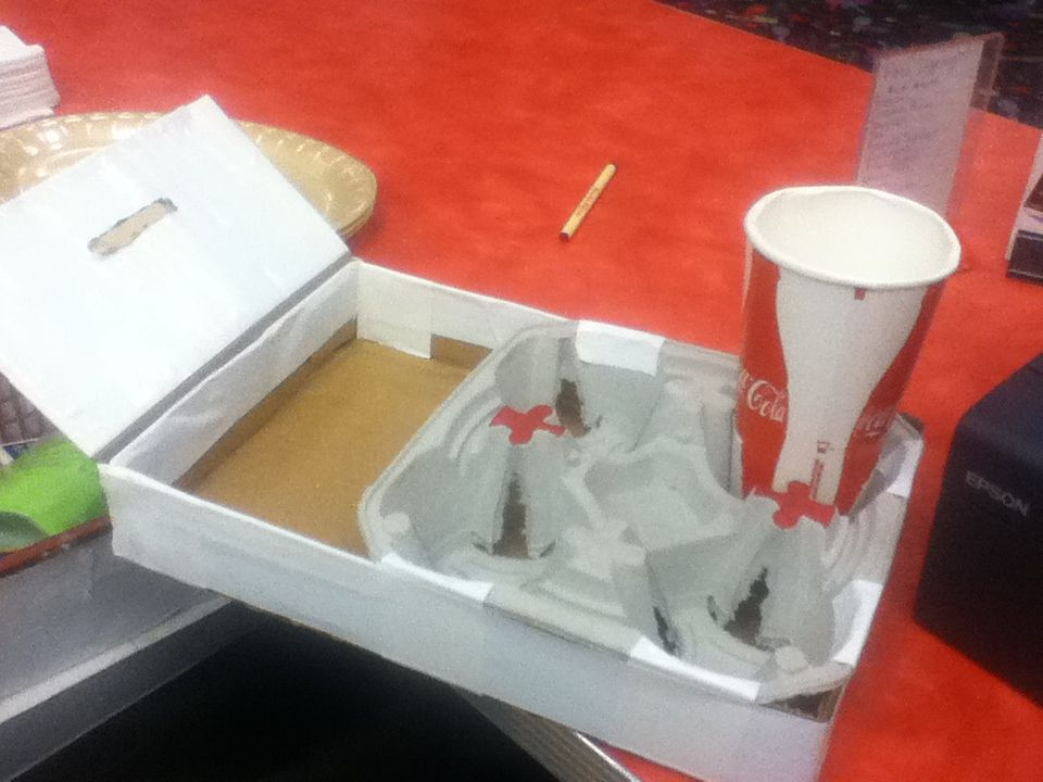 Diy cup holder using a to go cup holder from mcdonalds
