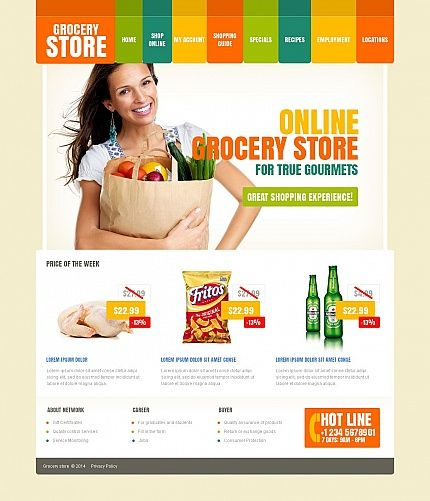 Template 49184 - Grocery Store Moto CMS HTML Template with - grocery shopping template