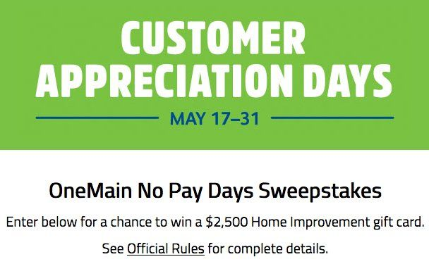 Win 2 500 00 Paid To The Winner In The Form Of Home Depot
