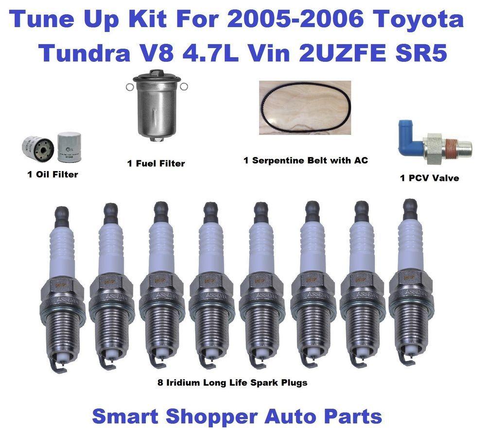 Oil Filter Fuel Filter Pcv Valve Serpentine Belt Spark Plug For 05 06 Tundra V8 Spark Plug Oil Filter Fuel Filter