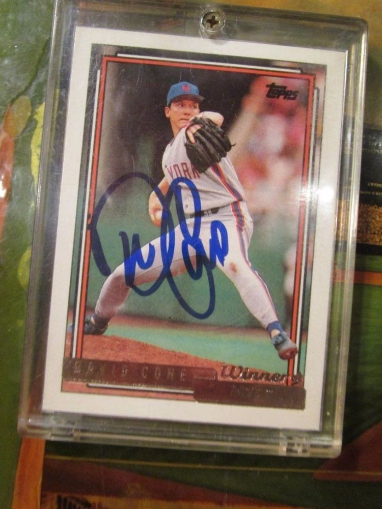1992 mets topps gold 195 david cone signed autographed