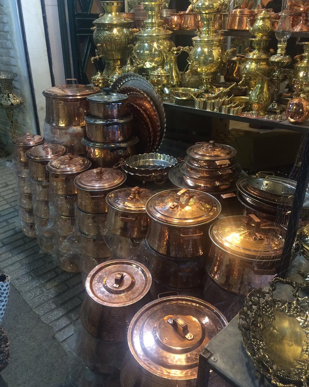 Coopersmith Pots at the Tarikeh Bazaar in Kirmaşan City, Iran.