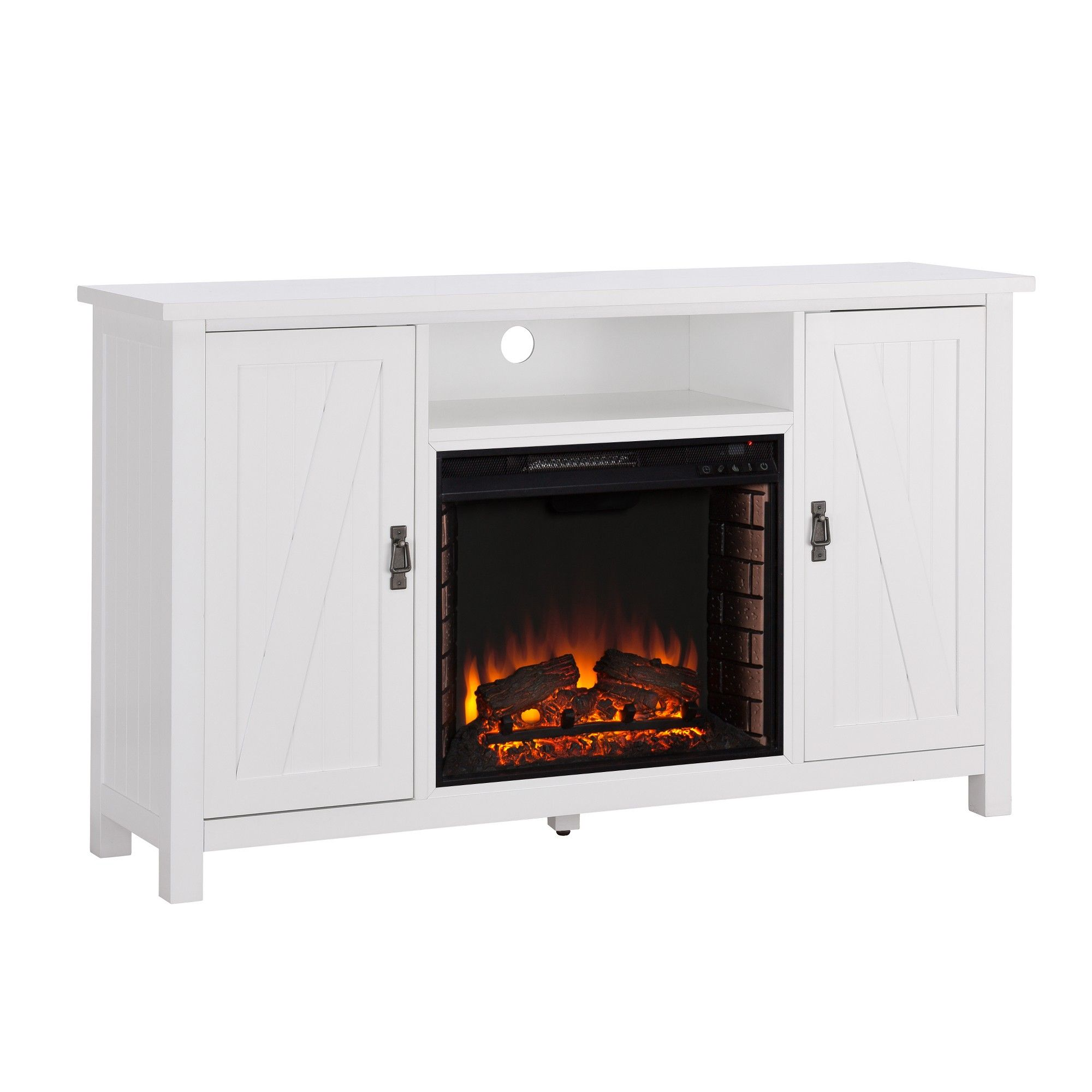 Adderline Farmhouse Style Electric Fireplace TV Stand