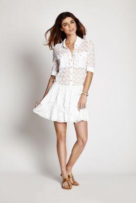 bb9200a277 Lace Ruffle Shirt-Dress
