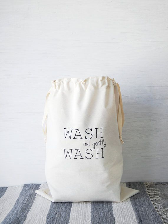 Large Natural Canvas Laundry Bag Wash