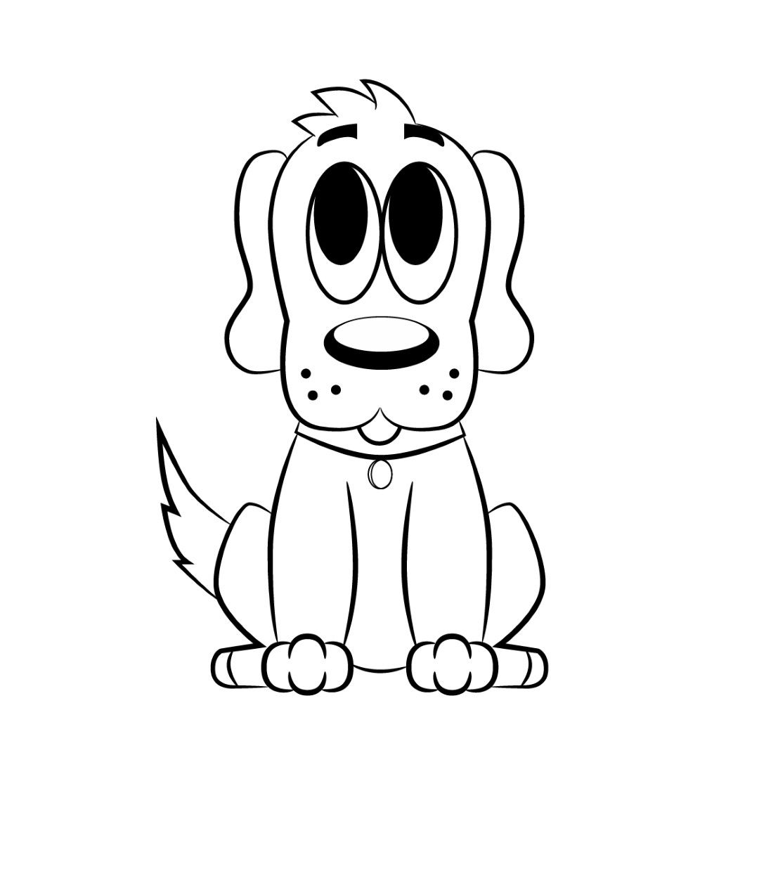 How To Draw A Cartoon Dog Cartoon Dog Drawing Dog Coloring Page