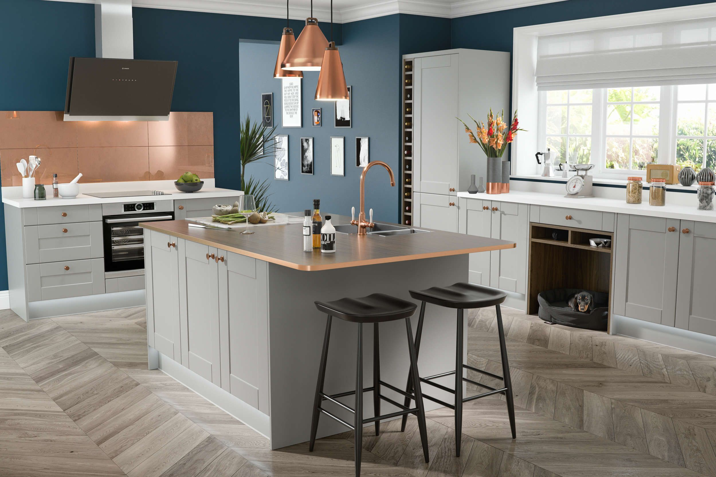 Best Shaker Fossil Grey Matt Kitchen Wren Kitchen Shaker 400 x 300