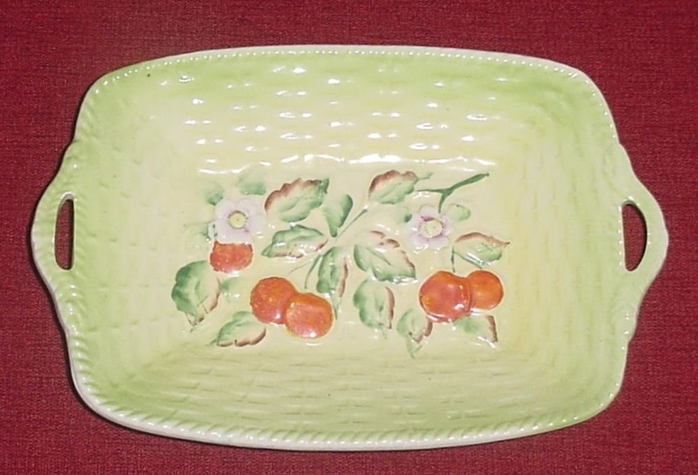 Vintage Cherry O Ware Basket Weave Dish Bowl For A Retro Inspired