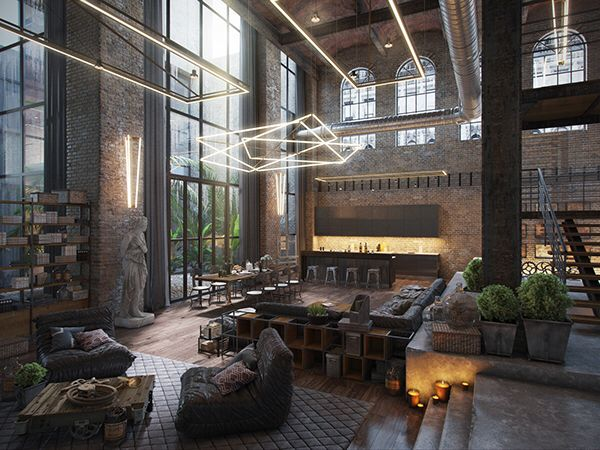 Rustic interior decor with art collection industrial loft ...