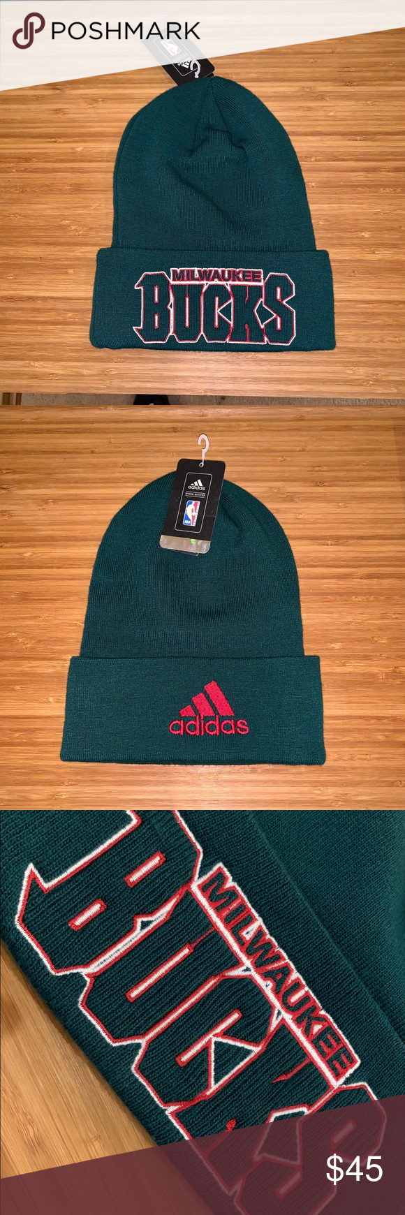 71f1b3f4 New Adidas Milwaukee Bucks NBA Basketball Green Beanie Hat! New Old Stock  (NOS) with Tags / Vintage adidas Accessories Hats