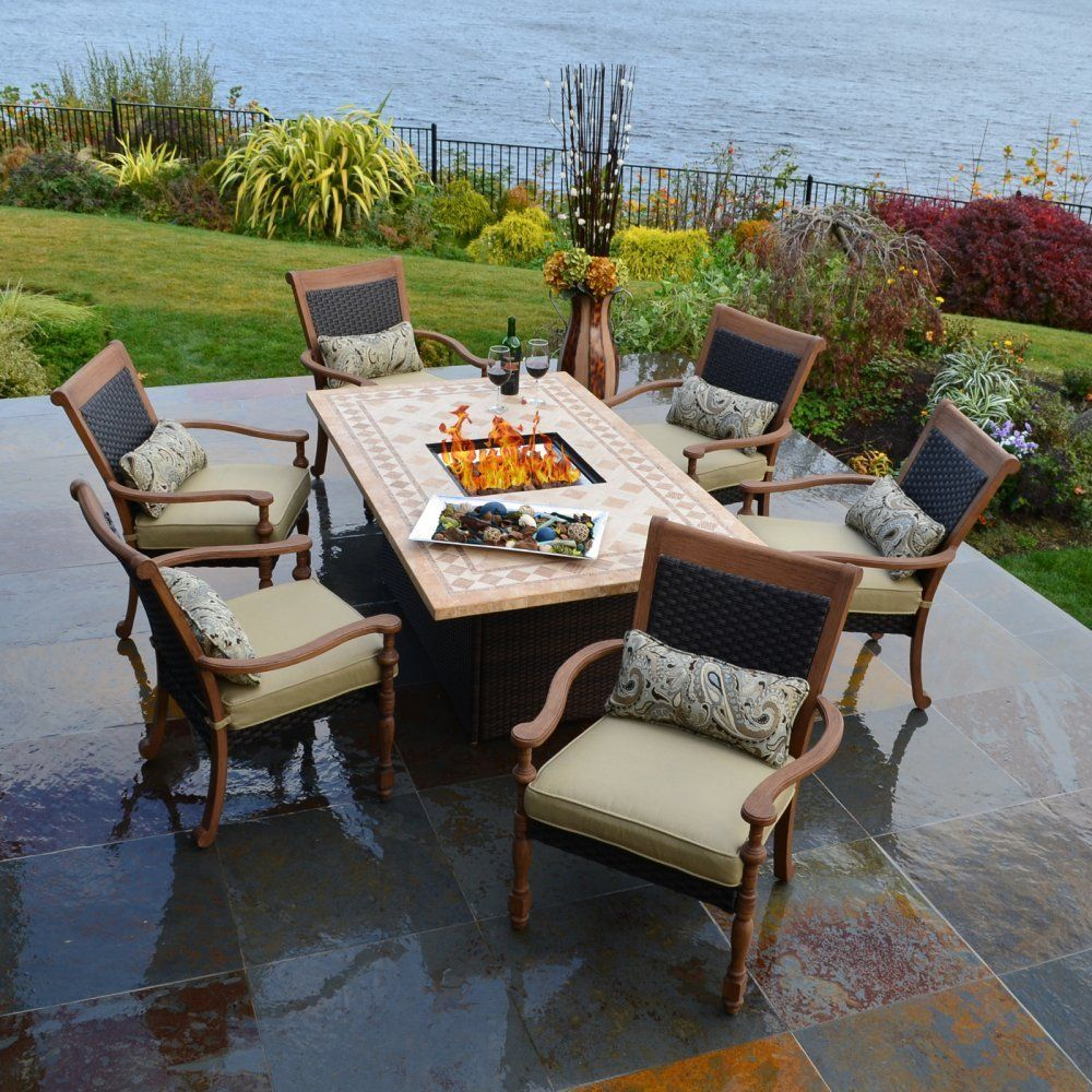 3k Outdoor Innovations Luxum 7 Piece Fire Dining Set And Patio Furniture Sets Lawn Garden