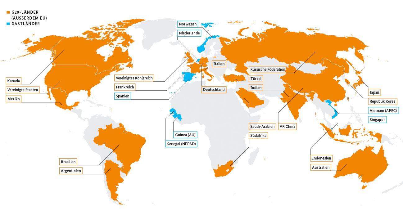 Weltkarte mit den farbig markierten Staaten der G20 ...