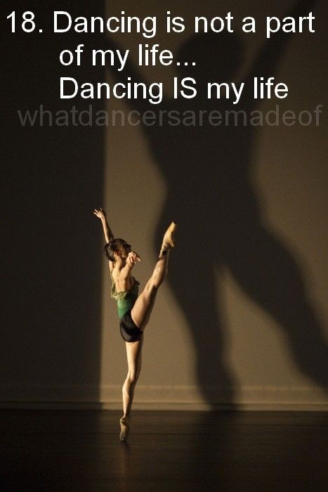 A photo showing someone for whom dancing is not a part of life, but life itself.
