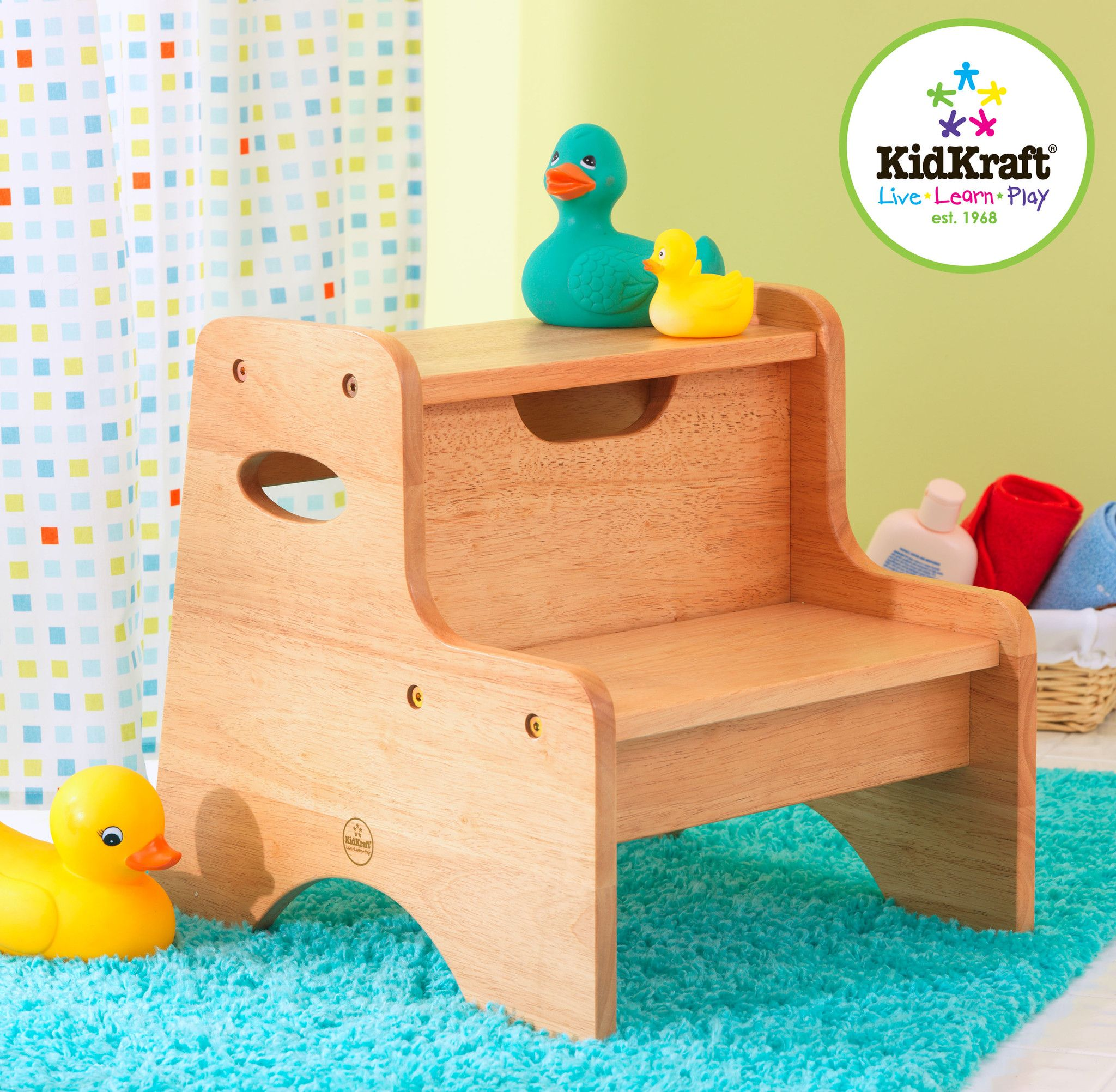The Kidkraft Two Step Stool Helps Toddlers Reach Counter