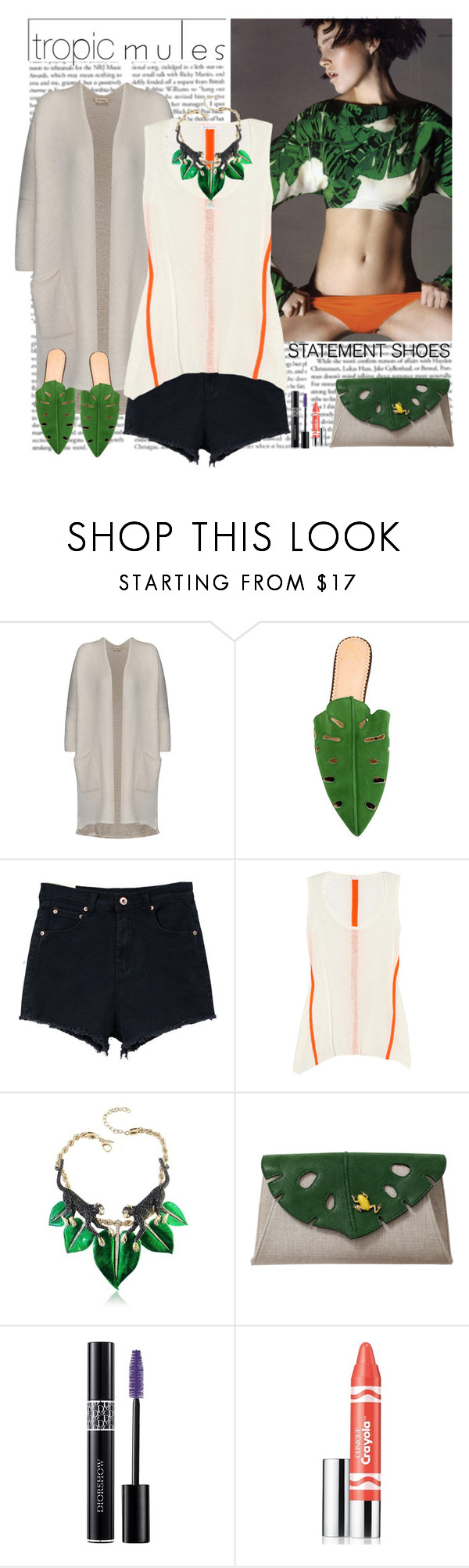 """""""mules"""" by helena99 ❤ liked on Polyvore featuring American Vintage, Charlotte Olympia, Retrò, Duffy, Roberto Cavalli, Christian Dior, Clinique, tropical, clutches and CharlotteOlympia"""