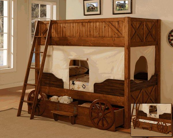 Old Western Covered Wagon Bunk Bed Adorable For The