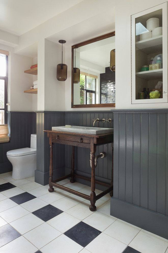 Eclectic With Gray Wainscoting Black And White Floor Tile