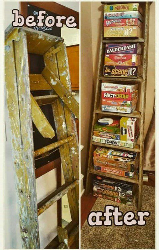 Repurposed Wooden Ladder To Board Game Storage Board Game