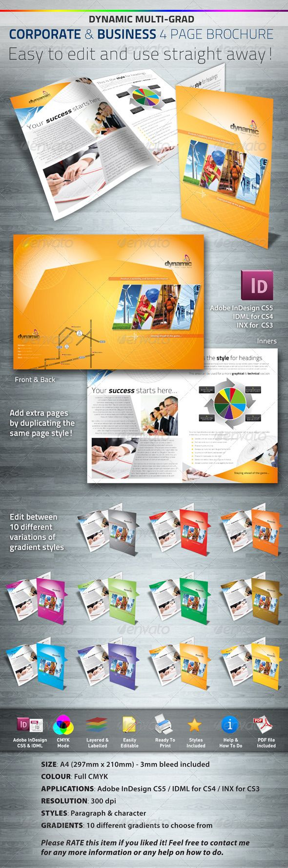 Dynamic Corporate Business Page Brochure Pinterest Corporate - Four page brochure template
