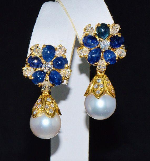 Sapphire Diamond Earrings Sapphire Earrings Certified