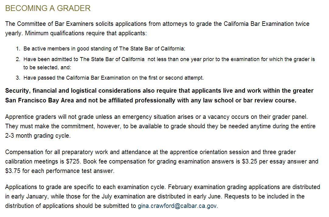 Goal: Become a Bar Exam Grader for the July 2014 Bar Exam