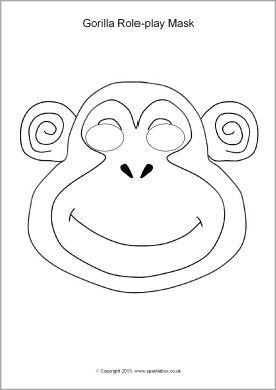 Gorilla Role Play Masks Sb9879 Sparklebox Gorilla Mask
