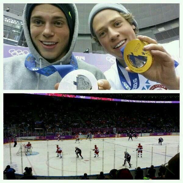 Gus Kenworthy and Joss Christensen at the USA VS Russia men hockey game