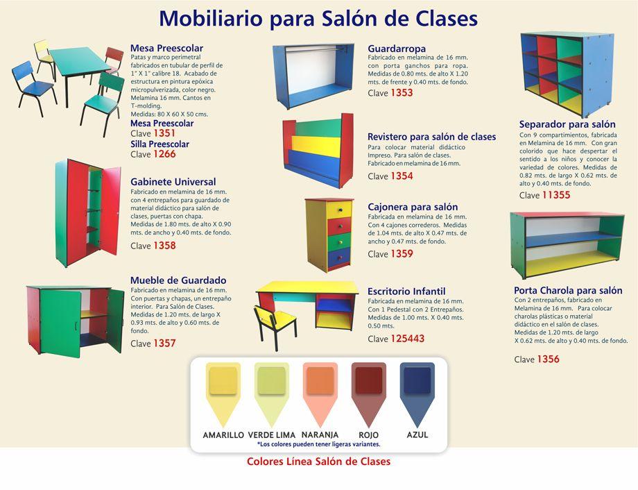 Mobiliario escolar muebles didactic pinterest for Mobiliario escolar medidas