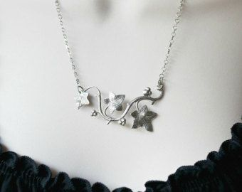 Ivy Necklace Swallow Necklace Rhinestone Necklace Silver