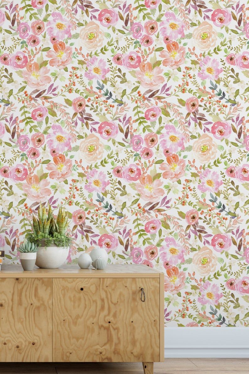 Charlotte Floral Peel N Stick Or Traditional Wallpaper Custom Colors Made In The Usa Vinyl Free Non Toxic Traditional Wallpaper Textured Wall Simple Wallpapers