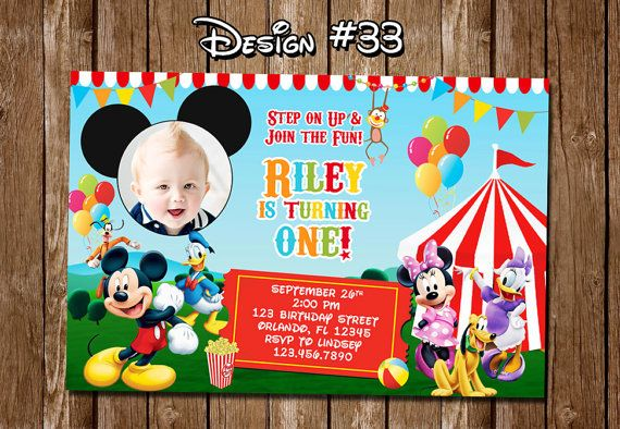 Mickey Mouse Clubhouse Carnival Circus Birthday Party Photo Ticket - printable ticket invitations