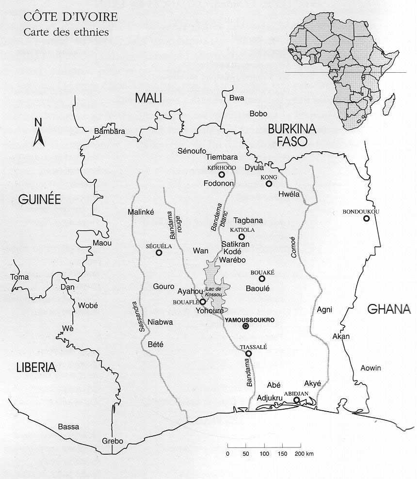 Ethnic map of Cote dIvoire Ivory Coast Africa Anthro Africa