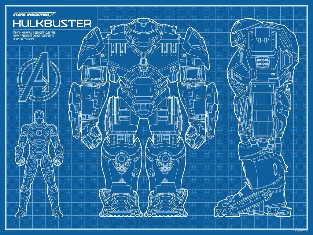Hulkbuster Blueprint D Robot Concept Art Research