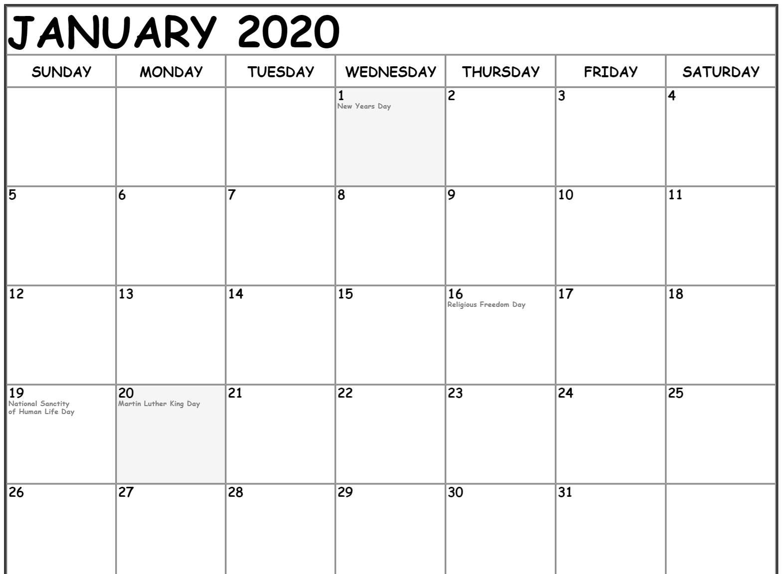 January 2020 Calendar Holidays Template Holiday Calendar