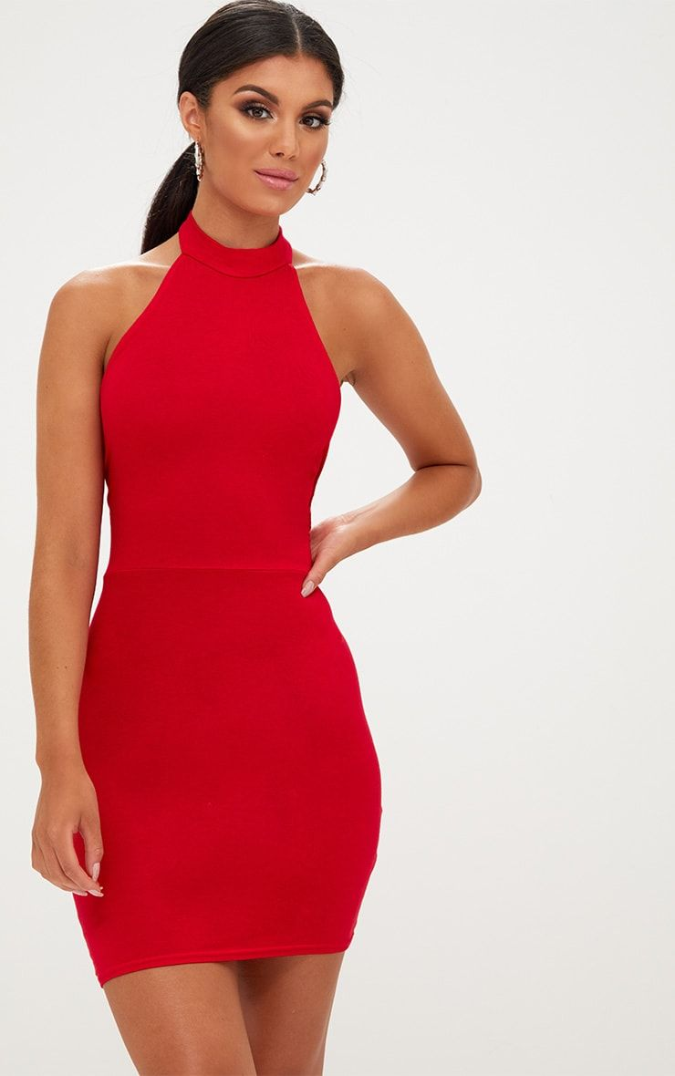 9df1b7599d 3...Red High Neck Tie Back Bodycon Dress with black high heels